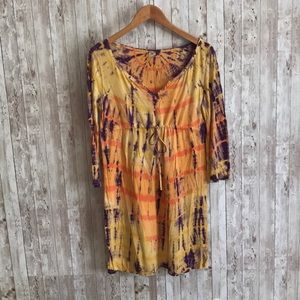 Lucky brand tie die orange and yellow dress